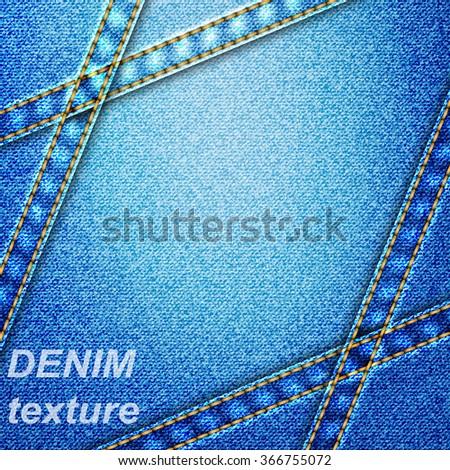 Denim texture blue background,vector illustration, eps10  - stock vector