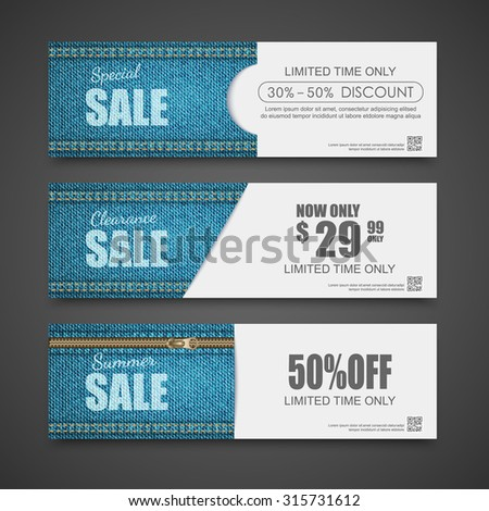 Denim texture, Jeans banner,Sale banners design,vector