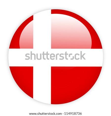 Denmark flag button on white - stock vector