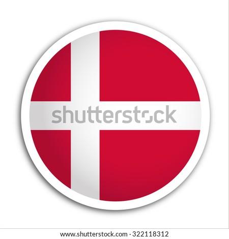 denmark flag button vector - flag icons - stock vector