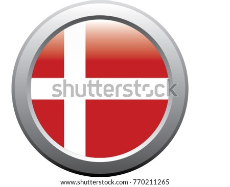 Denmark flag emblem button metal sticker