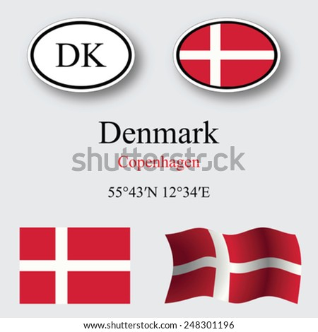 Denmark icons set against gray background, abstract vector art illustration, image contains transparency - stock vector