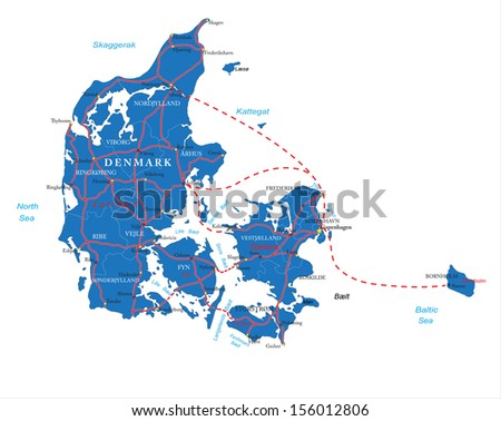 Denmark map - stock vector