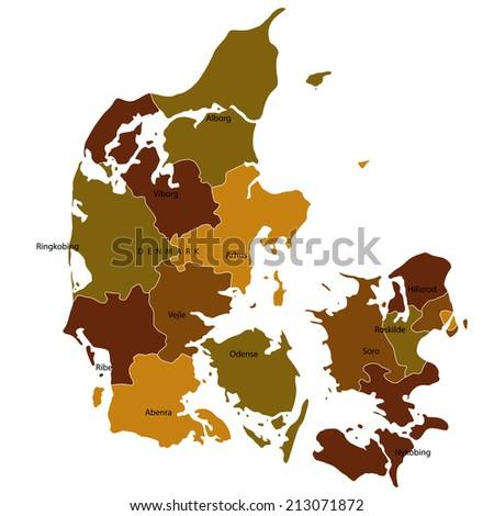Denmark map brown - stock vector
