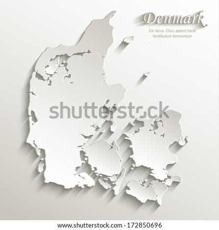 Denmark map card paper 3D natural vector  - stock vector