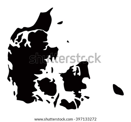 Denmark map, silhouette vector