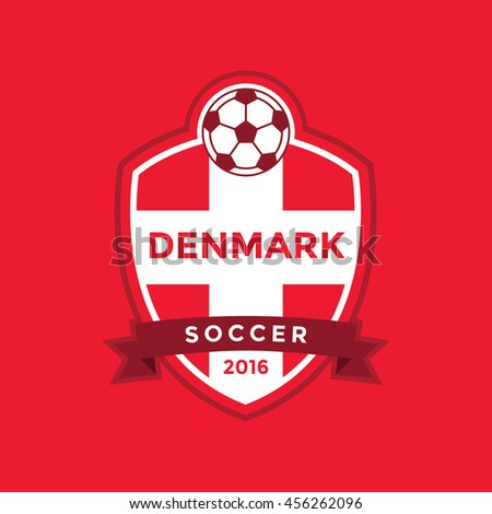 Denmark soccer team with flag. vector - stock vector