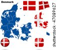 Denmark vector set. Detailed country shape with region borders, flags and icons isolated on white background. - stock photo