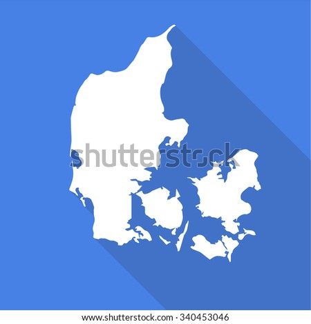 Denmark white map,border flat simple style with long shadow on blue background - stock vector