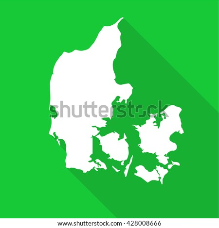 Denmark white map,border flat simple style with long shadow on green background