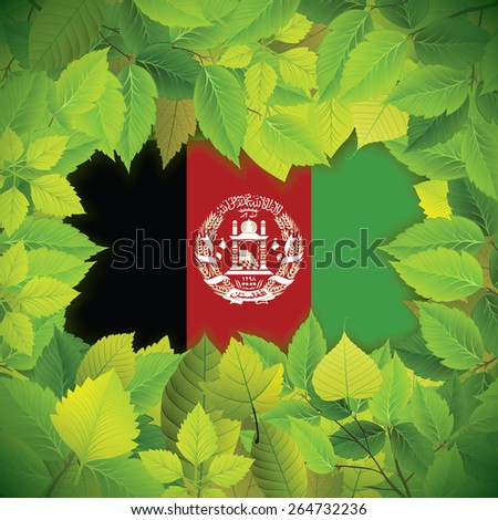 Dense, green leaves over the flag of Afghanistan - stock vector