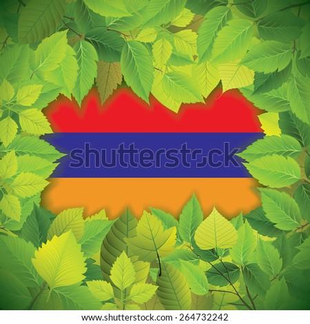 Dense, green leaves over the flag of Armenia - stock vector