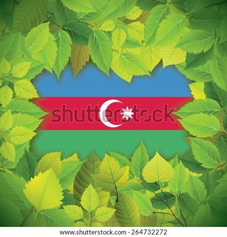 Dense, green leaves over the flag of Azerbaijan - stock vector