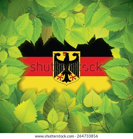 Dense, green leaves over the flag of Germany - stock vector