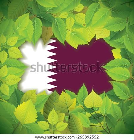 Dense, green leaves over the flag of Qatar - stock vector