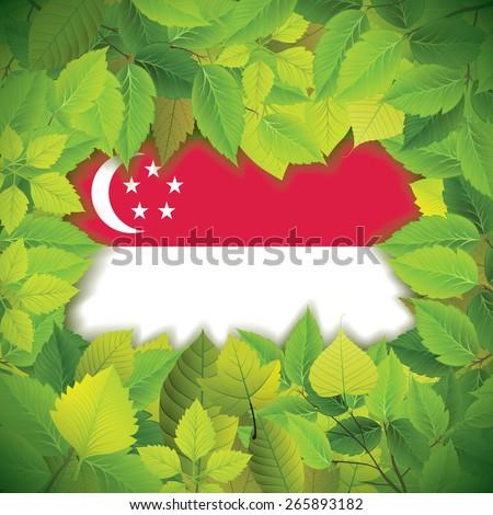Dense, green leaves over the flag of Singapore - stock vector