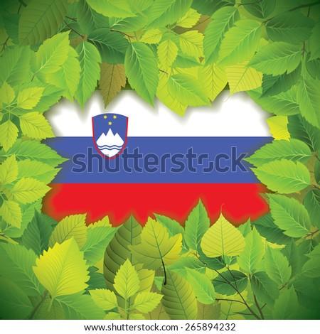 Dense, green leaves over the flag of Slovenia - stock vector