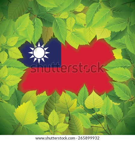 Dense, green leaves over the flag of Taiwan - stock vector