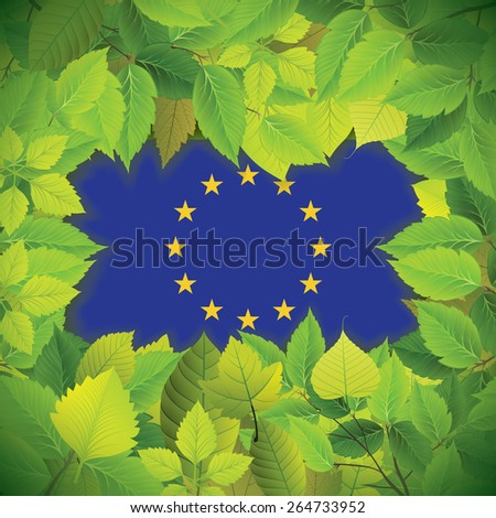 Dense, green leaves over the flag of the European Union - stock vector