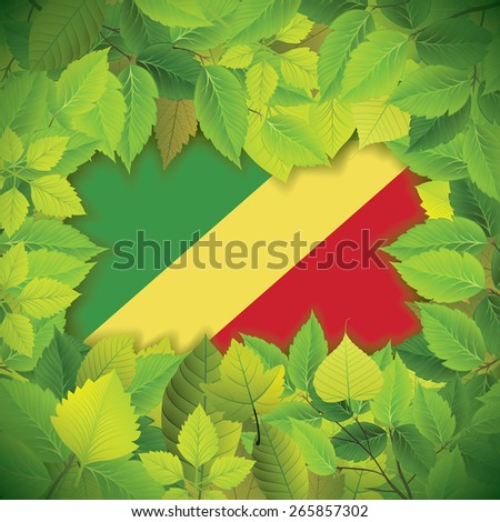 Dense, green leaves over the flag of the Republic of the Congo - stock vector
