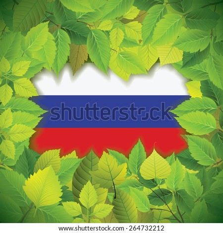 Dense, green leaves over the flag of the Russian Federation - stock vector