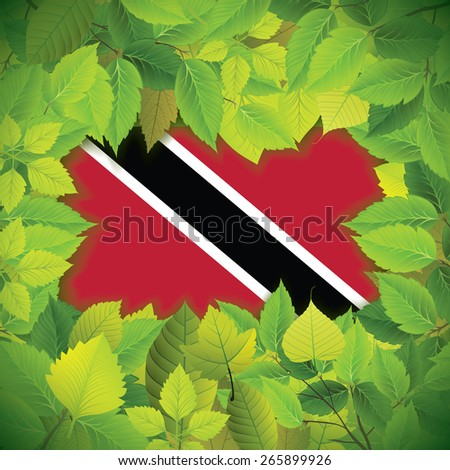 Dense, green leaves over the flag of Trinidad and Tobago - stock vector