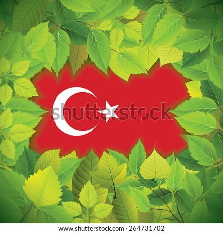 Dense, green leaves over the flag of Turkey - stock vector