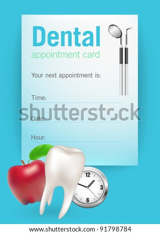 Dental appointment card, illustration - stock vector