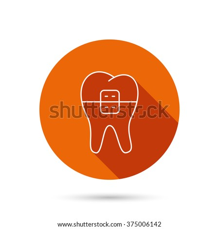 Dental braces icon. Tooth healthcare sign. Orthodontic symbol. Round orange web button with shadow. - stock vector