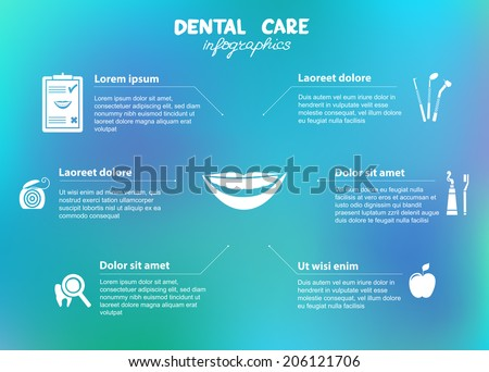 Dental care infographics. Included symbols: dental floss, tooth brush, tooth paste, apple, dental diagnostics, smile - stock vector