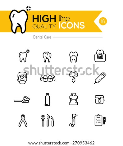 Dental Care line icons series - stock vector