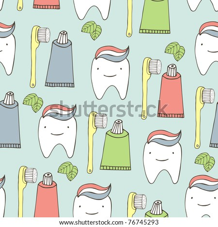 dental care seamless pattern - stock vector