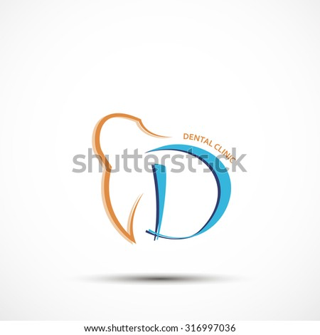 Dental clinic concept logo in orange and blue color art