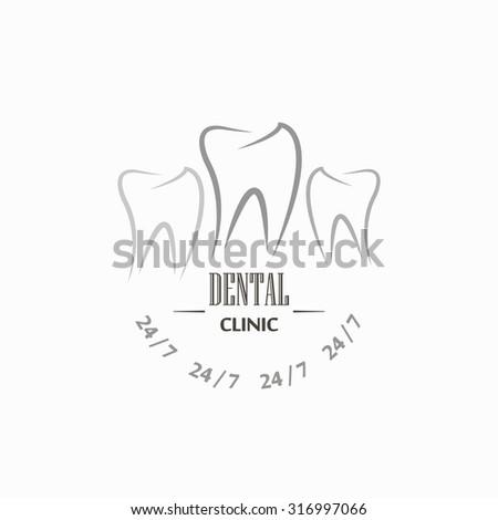 Dental clinic retro design logo in grey color art - stock vector