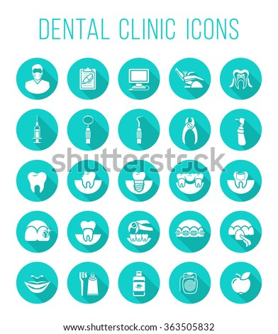 Dental clinic services, stomatology, dentistry, orthodontics, oral health care and hygiene, tooth restoration, instruments and tools. Flat vector icons set. Logo, pictogram, infographic element - stock vector