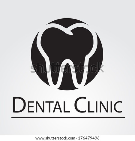 Dental Clinic sign isolated on white background. VECTOR illustration. - stock vector