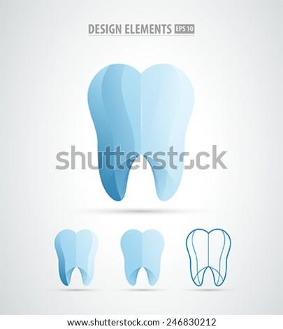 Dental clinical logo icon. Vector tooth icon - stock vector