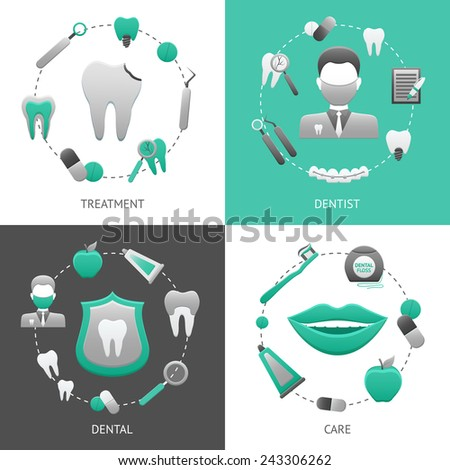 Dental design concept set with treatment dentist care flat icons isolated vector illustration - stock vector