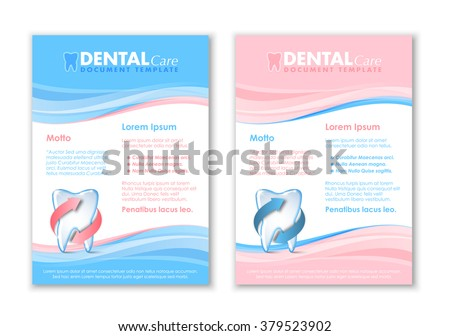 Dental document templates with protected tooth icon - stock vector
