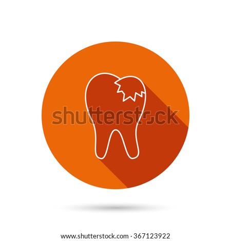 Dental fillings icon. Tooth restoration sign. Round orange web button with shadow. - stock vector