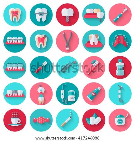 Dental Flat Icons Set Circles Vector Vector de stock417246088 ...