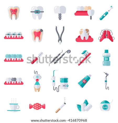 Dental flat icons set vector illustration stock vector 416870968 dental flat icons set vector illustration for dentistry and orthodontics healthy tooth transparent ccuart Choice Image