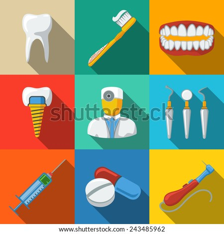 Dental flat long shadow icons set with - tooth, jaw, toothbrush, dentist tools, doctor, prosthesis, drill, pills, syringe. vector - stock vector