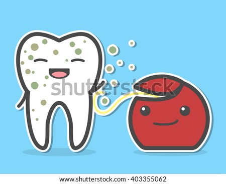 Dental floss cleaning dirty tooth. Flossing process. Vector illustration - stock vector
