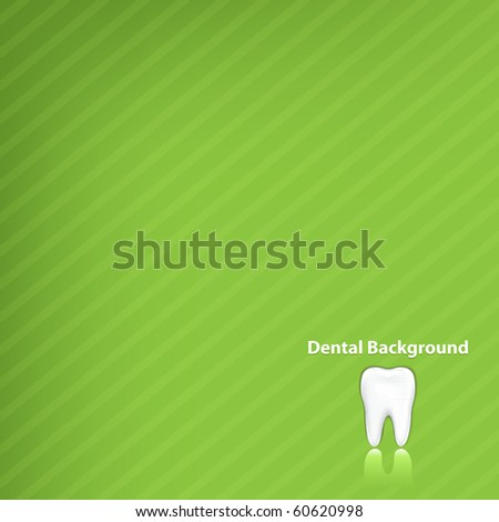 Dental Green Background With Tooth, Vector Illustration - stock vector