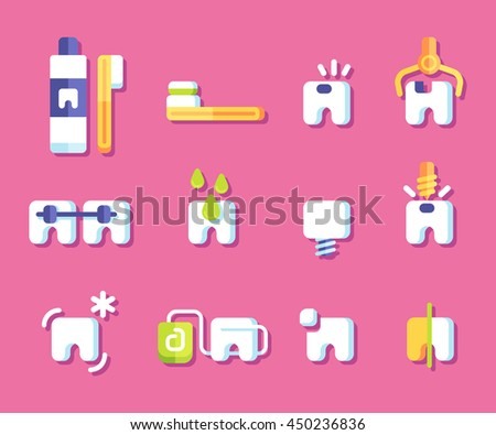 Dental health icons. Vector illustration.