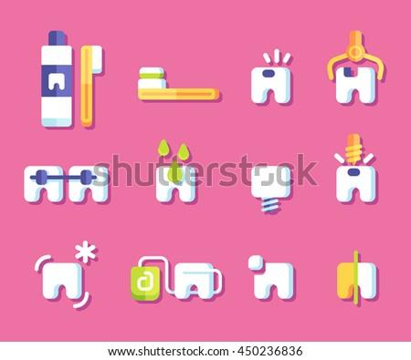 Dental health icons. Vector illustration. - stock vector