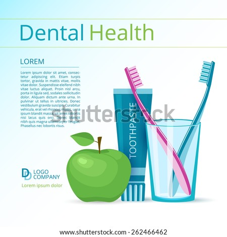 Dental health vector flyer or poster template. Toothbrushes and toothpaste, green apple. - stock vector