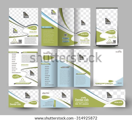 Dental Hospital Business Stationery Set Template.
