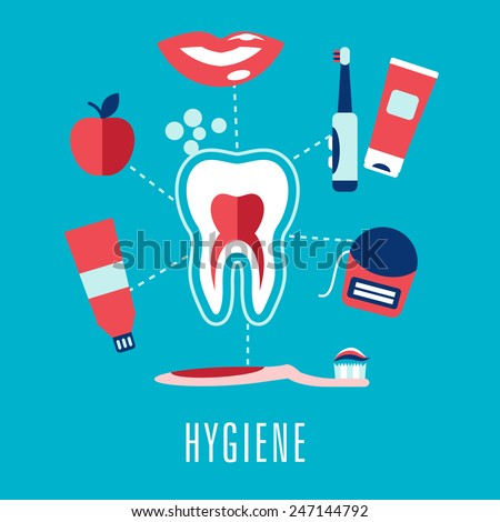 Dental hygiene medical concept in flat style with cross section of healthy tooth surrounded toothbrushes, toothy smile, apple, toothpaste, floss and caption Hygiene - stock vector